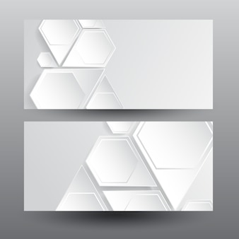 Banners horizontais da web com estrutura hexagonal leve