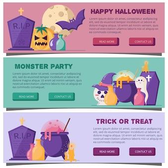 Banners horizontais da web de halloween em um estilo simples ilustração vetorial para cabeçalho do site