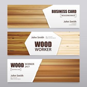 Banners horizontais de acabamento em madeira