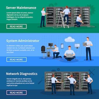Banners horizontais de administrador de ti com engenheiros de rede trabalhando na sala do servidor