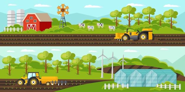 Banners horizontais de agricultura coloridos