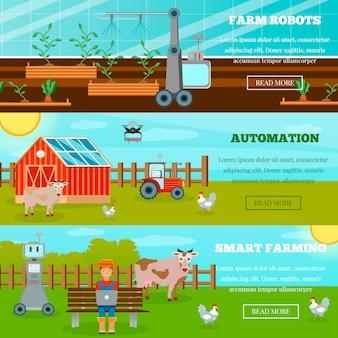 Banners horizontais de agricultura inteligente