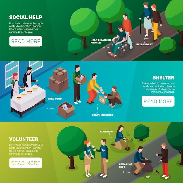Banners horizontais de ajuda social