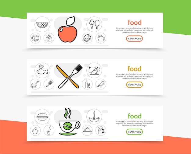 Banners horizontais de alimentos e culinária