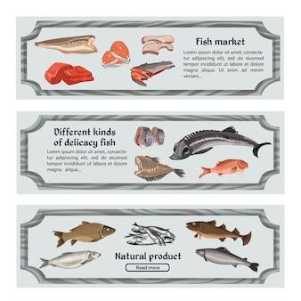 Banners horizontais de alimentos marinhos coloridos