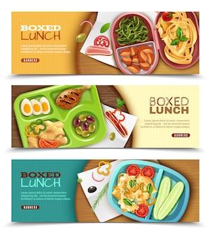 Banners horizontais de almoço em caixa