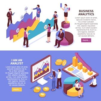 Banners horizontais de analista de negócios conjunto com símbolos de crescimento isométrico isolado