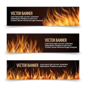 Banners horizontais de anúncio de fogo quente vetor definido