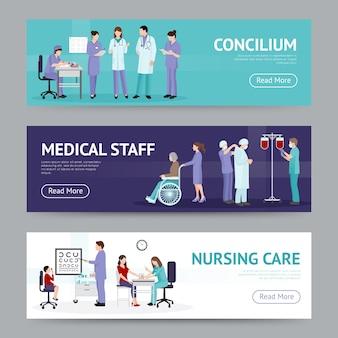 Banners horizontais de assistência médica