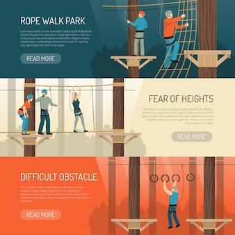Banners horizontais de atividade de caminhada com corda