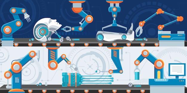 Banners horizontais de automação industrial