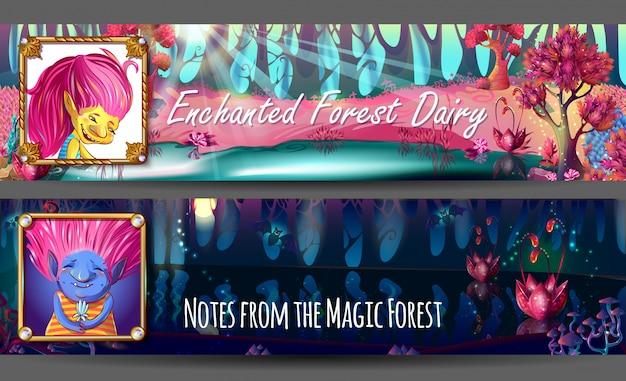 Banners horizontais de avatares de personagens trolls