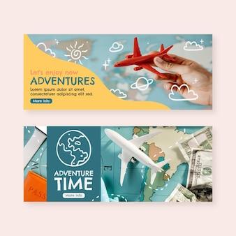 Banners horizontais de aventura desenhados à mão com foto