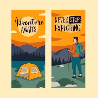 Banners horizontais de aventura desenhados à mão
