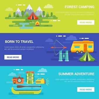 Banners horizontais de aventuras turísticas de verão
