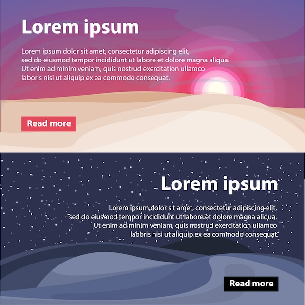 Banners horizontais de belas paisagens do deserto