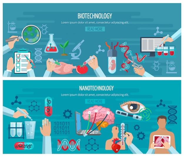 Banners horizontais de biotecnologia e nanotecnologia