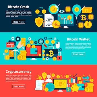 Banners horizontais de bitcoin. ilustração vetorial para cabeçalho do site. design plano de itens de criptomoeda.