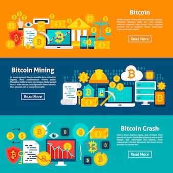 Banners horizontais de bitcoin. ilustração vetorial para cabeçalho do site. design plano de itens de moeda criptográfica.