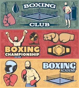 Banners horizontais de boxe conjunto com campeonato de clube de luta e academia no estilo grunge