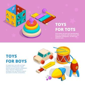 Banners horizontais de brinquedos para crianças