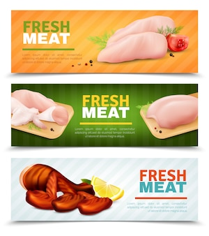 Banners horizontais de carne de frango fresco