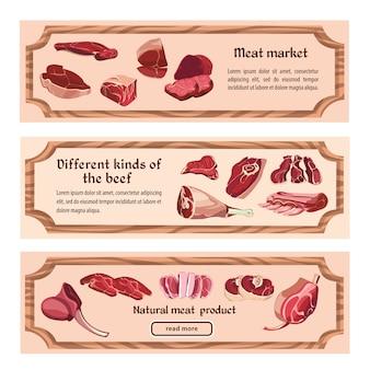 Banners horizontais de carne fresca desenhada à mão