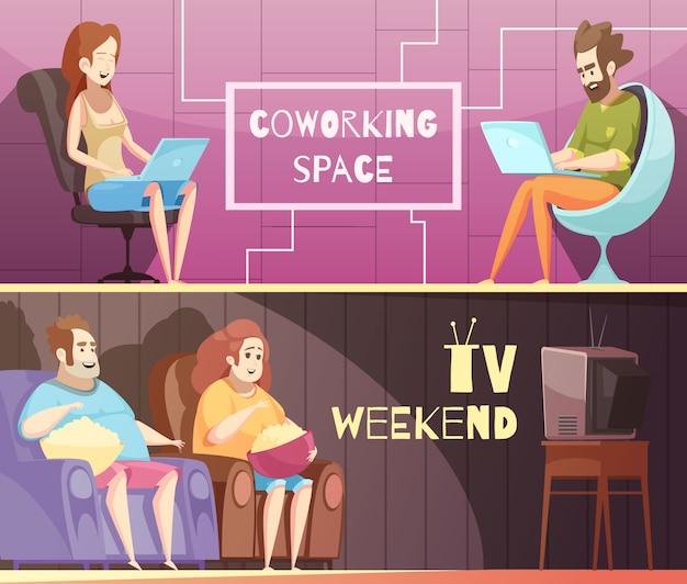 Banners horizontais de cartoon retrô de estilo de vida sedentária