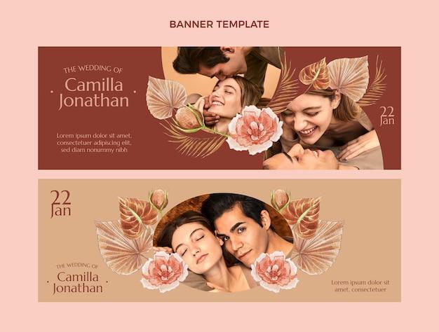 Banners horizontais de casamento boho em aquarela