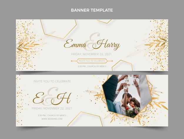 Banners horizontais de casamento de luxo realistas