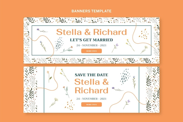 Banners horizontais de casamento desenhados à mão
