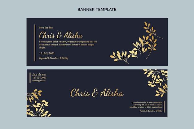 Banners horizontais de casamento dourado de luxo realistas