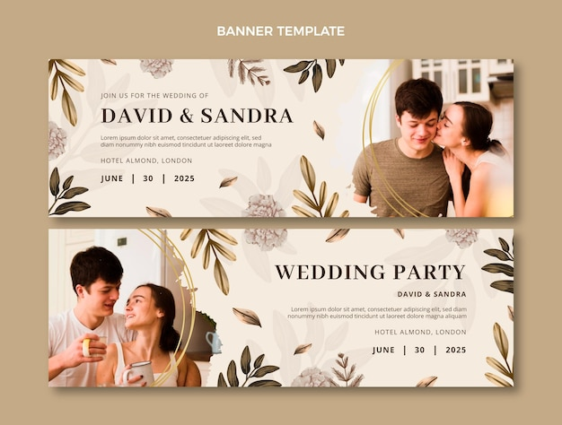 Banners horizontais de casamento em aquarela boho Vetor Premium