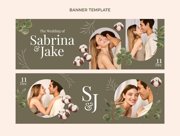 Banners horizontais de casamento em aquarela desenhados à mão