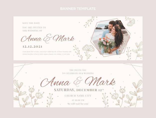 Banners horizontais de casamento floral