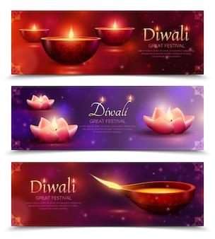 Banners horizontais de celebração de diwali