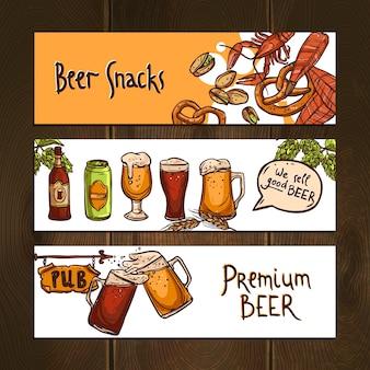 Banners horizontais de cerveja