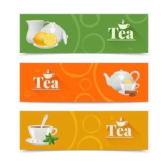 Banners horizontais de chá com serviço de porcelana
