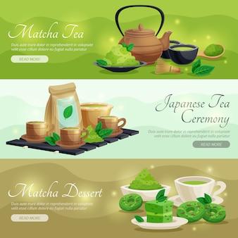 Banners horizontais de chá verde matcha