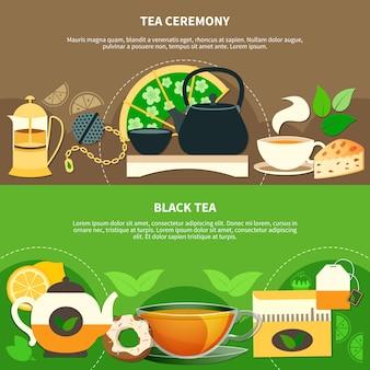 Banners horizontais de chá