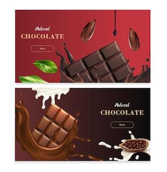 Banners horizontais de chocolate natural