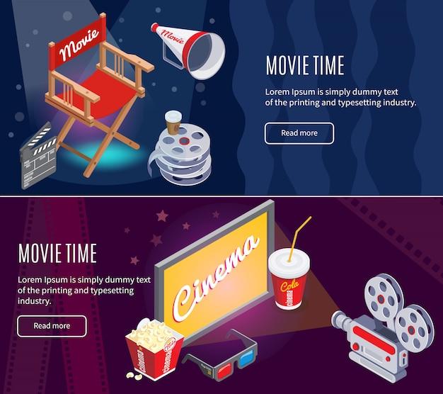 Banners horizontais de cinematografia colorida isométrica