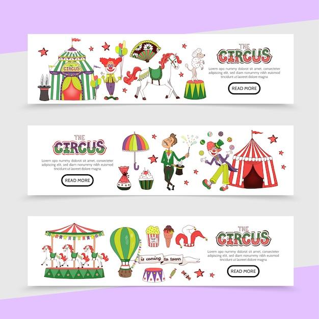 Banners horizontais de circo plano