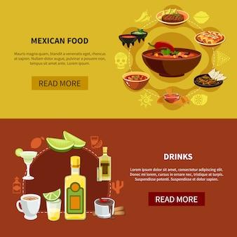 Banners horizontais de comida mexicana