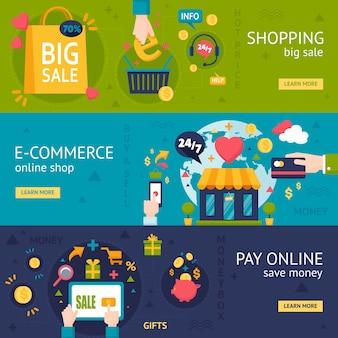 Banners horizontais de compras de comércio eletrônico
