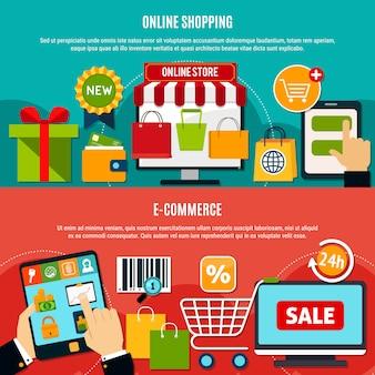 Banners horizontais de compras eletrônicas