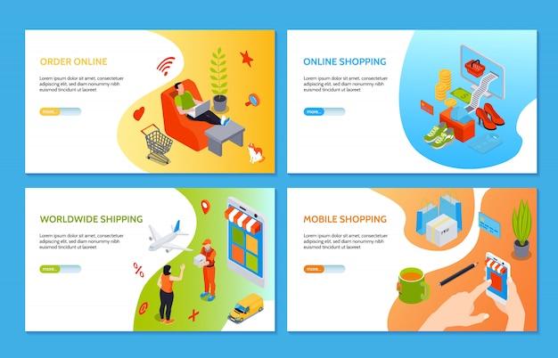 Banners horizontais de compras online com pessoas que fazem compras na internet usando o computador e telefone celular isométrico