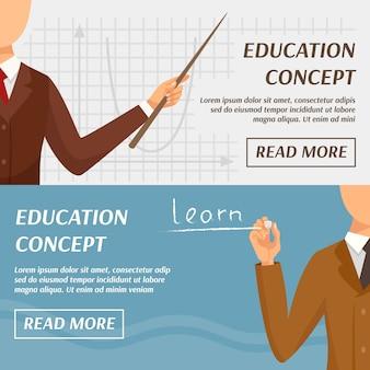 Banners horizontais de conceito de educação