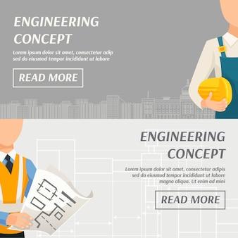 Banners horizontais de conceito de engenharia