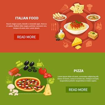 Banners horizontais de cozinha italiana